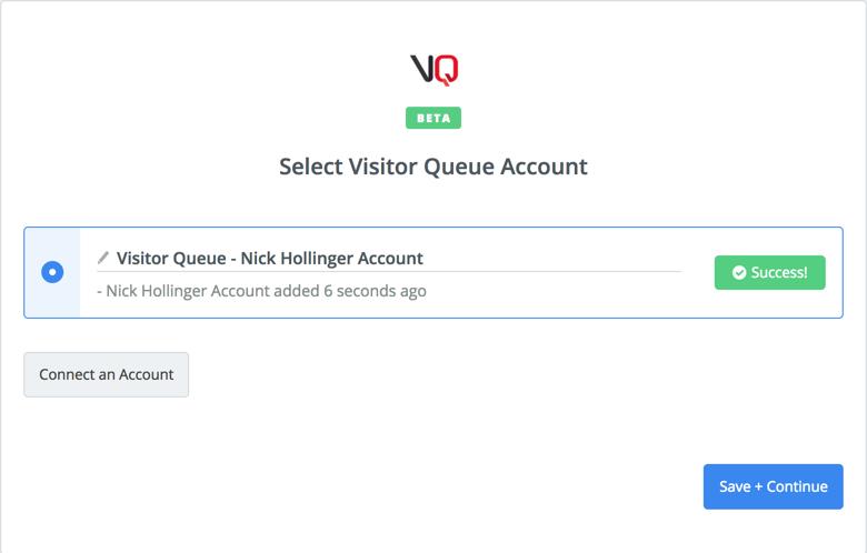 Visitor Queue connection successful