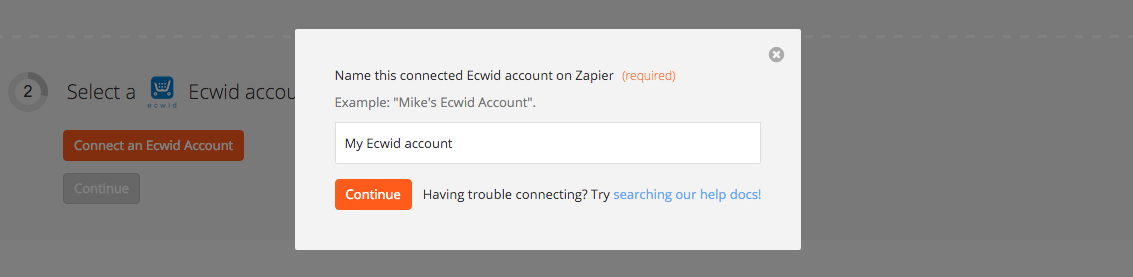 Name the Ecwid account inside Zapier