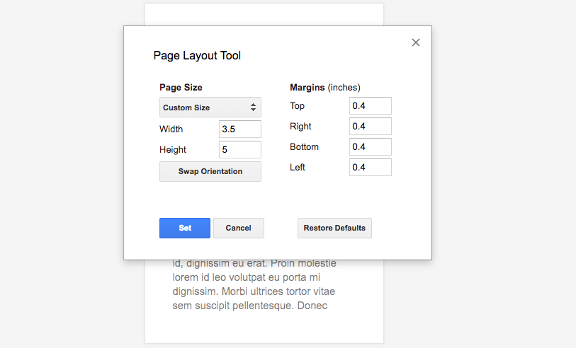 Page Layout Tool Google Docs