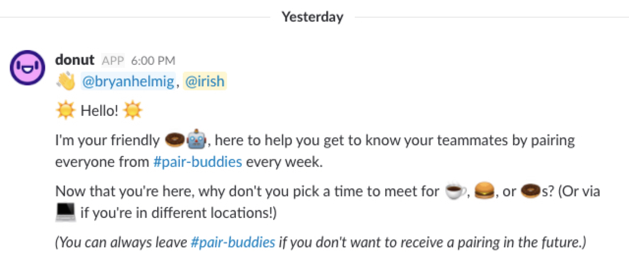 Donut Slack app screenshot