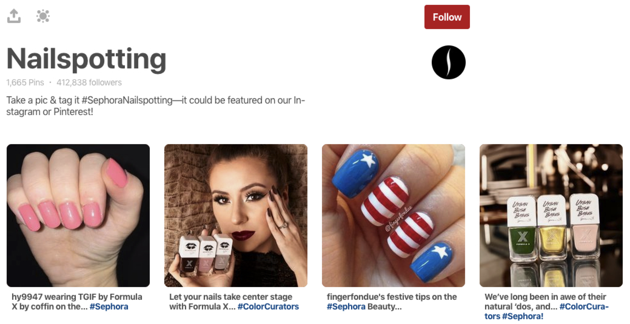 Sephora's Nailspotting board
