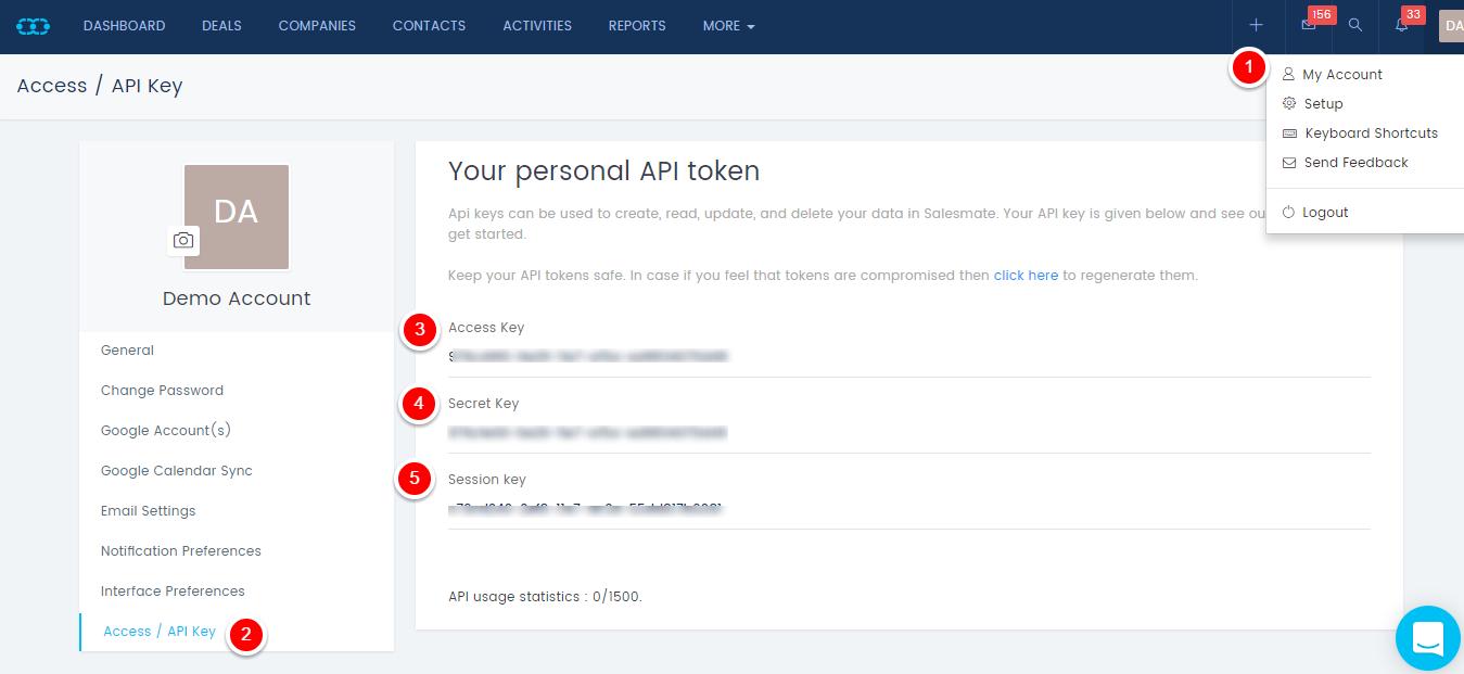 Salesmate API key page