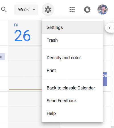 Google Calendar settings menu