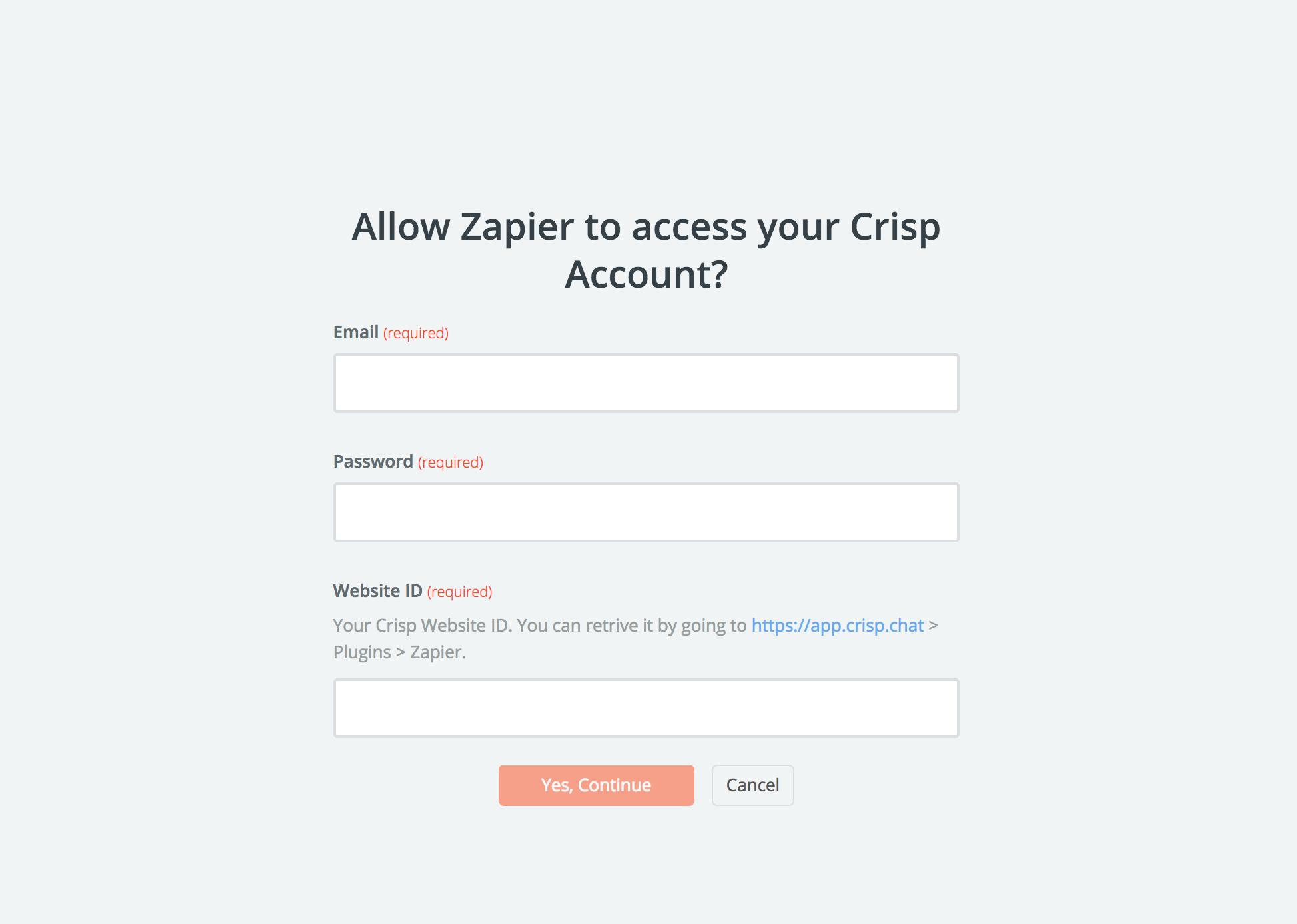 Crisp username and password