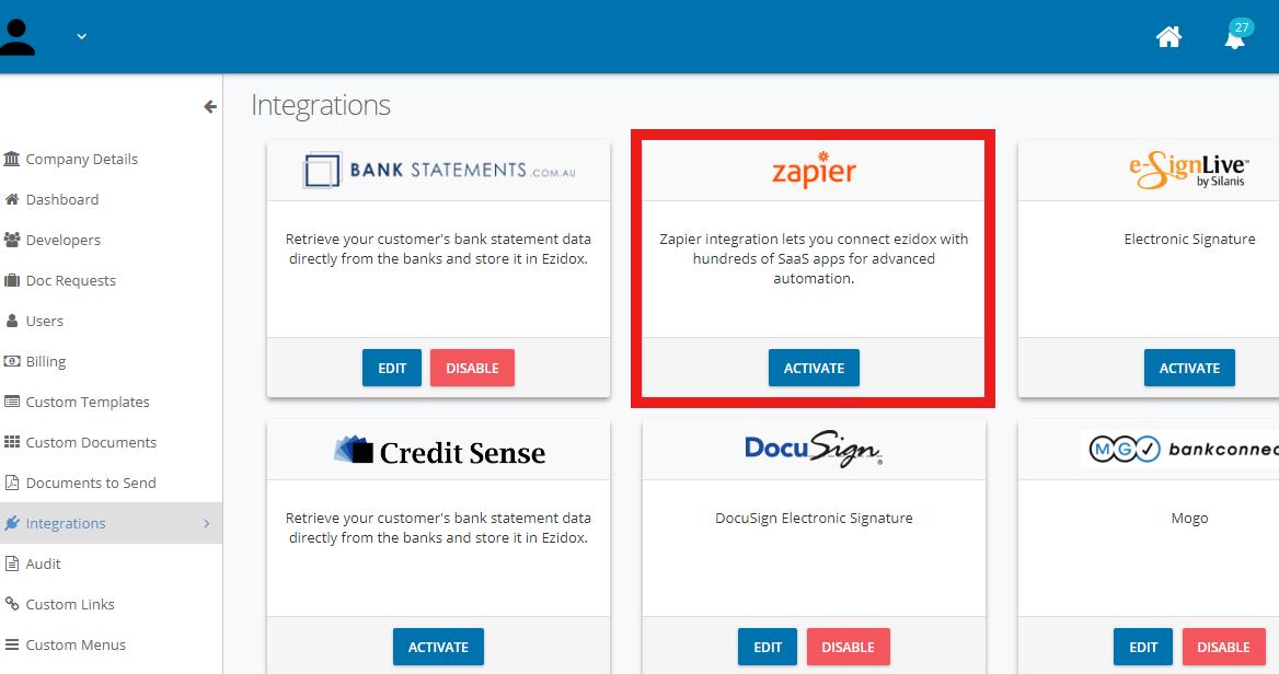 Ezidox API Key in account