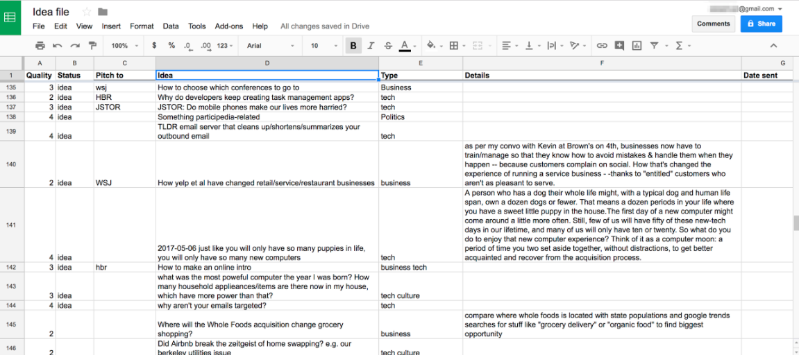 Google Sheets ideas file