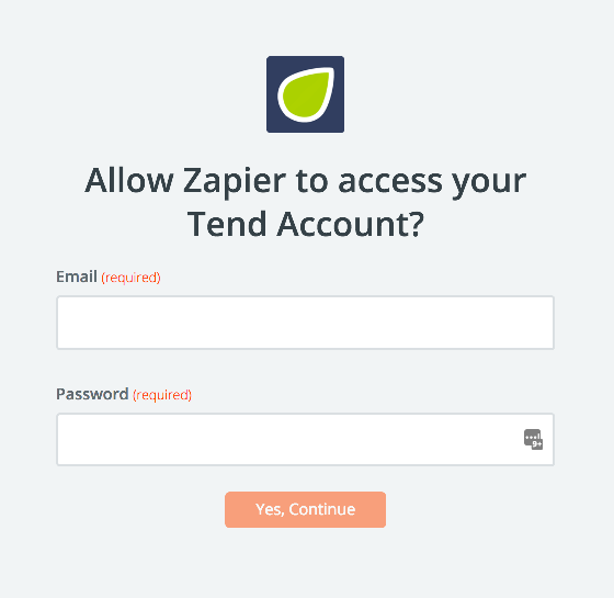 Tend username and password