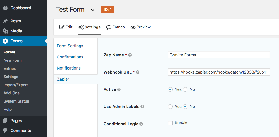 Zapier URL in Gravity Forms
