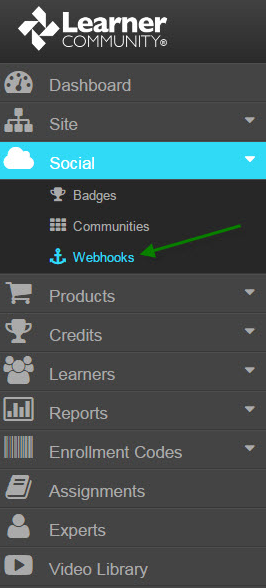 Learner Community Social Webhooks