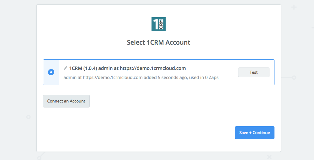 1CRM connection successful