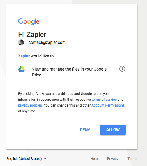 Authorize APP on Zapier
