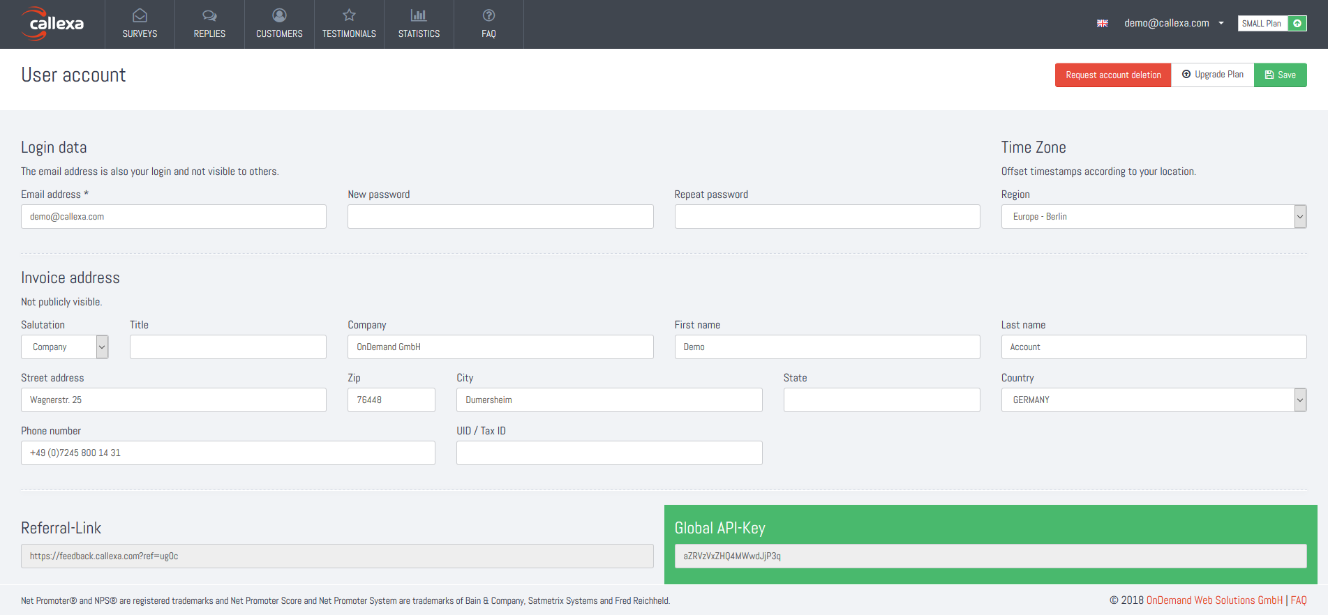 Callexa Feedback API Key in account