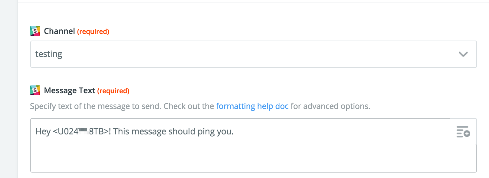 Slack message showing how to format the ID in sending out an @ message