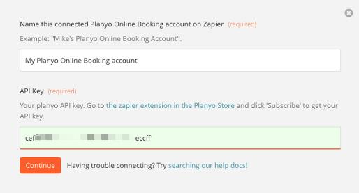 Enter your Planyo API key