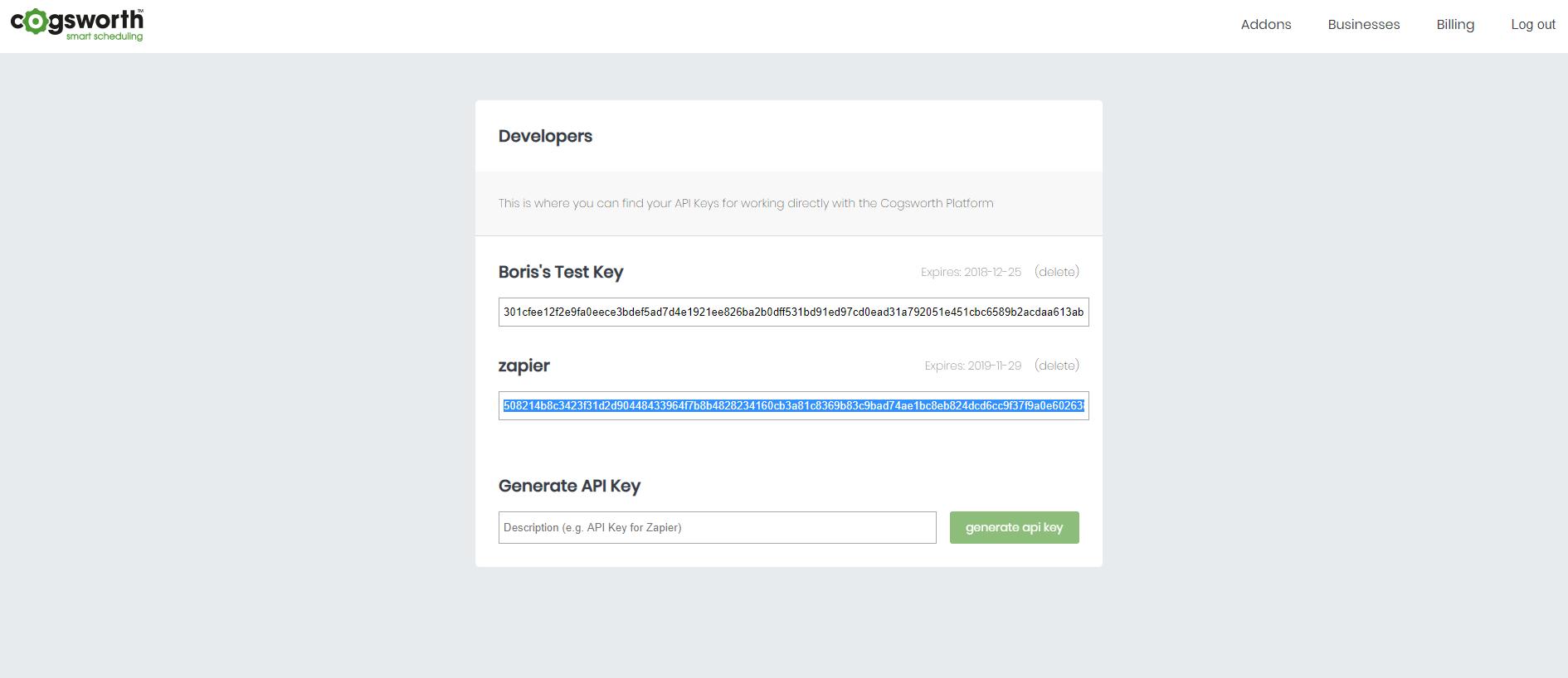 Cogsworth API Key in account