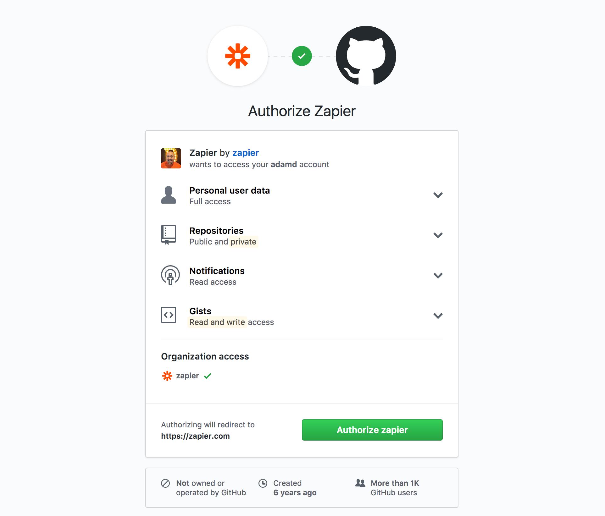 GitHub OAuth screen