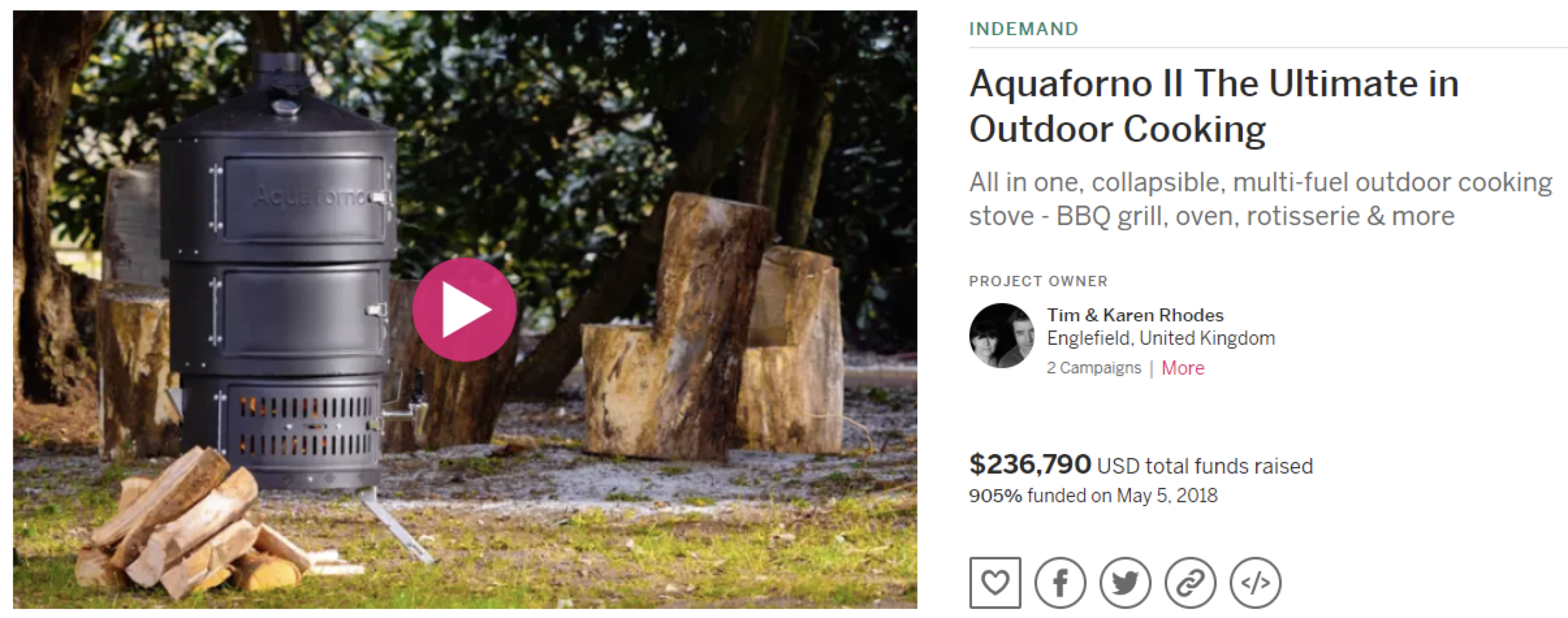 Aquaforno II campaign on Indiegogo