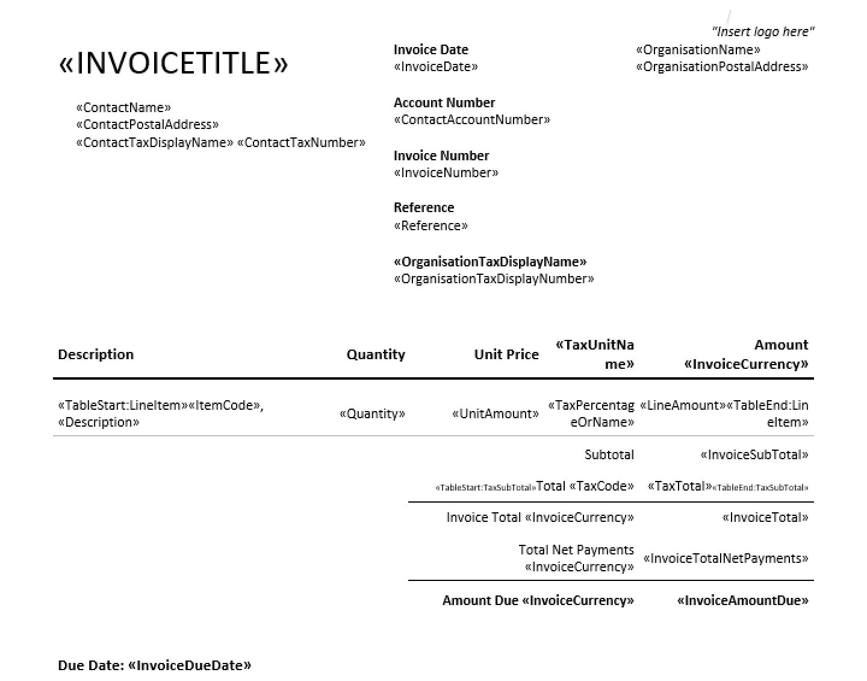 docx template to customize invoices on Xero