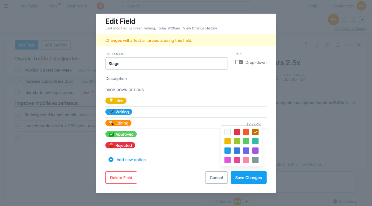 Asana emoji custom field