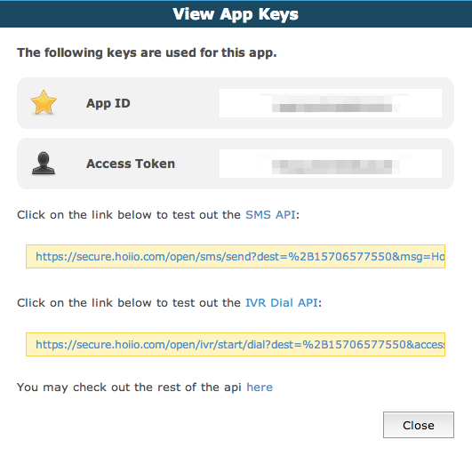 Grab your Hoiio API Auth Token