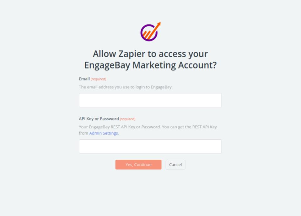 EngageBay Marketing username and password