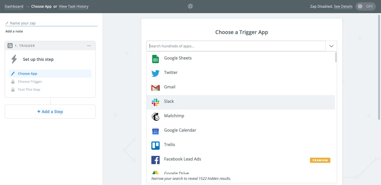 Zap editor app selector
