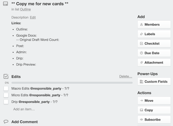New Card in Trello