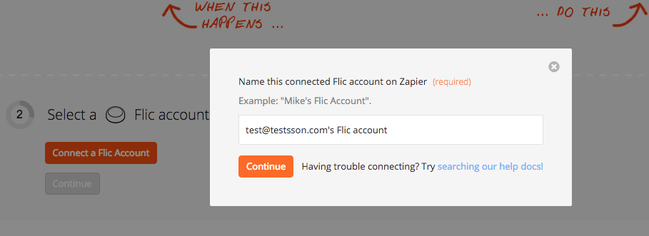 Name the Flic account inside Zapier