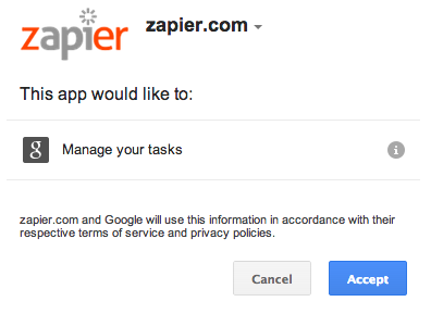 Log in to authorize your Google Tasks account