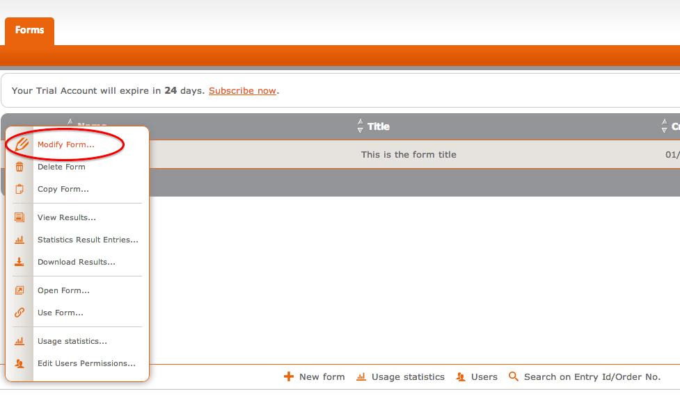 Formdesk Form Settings