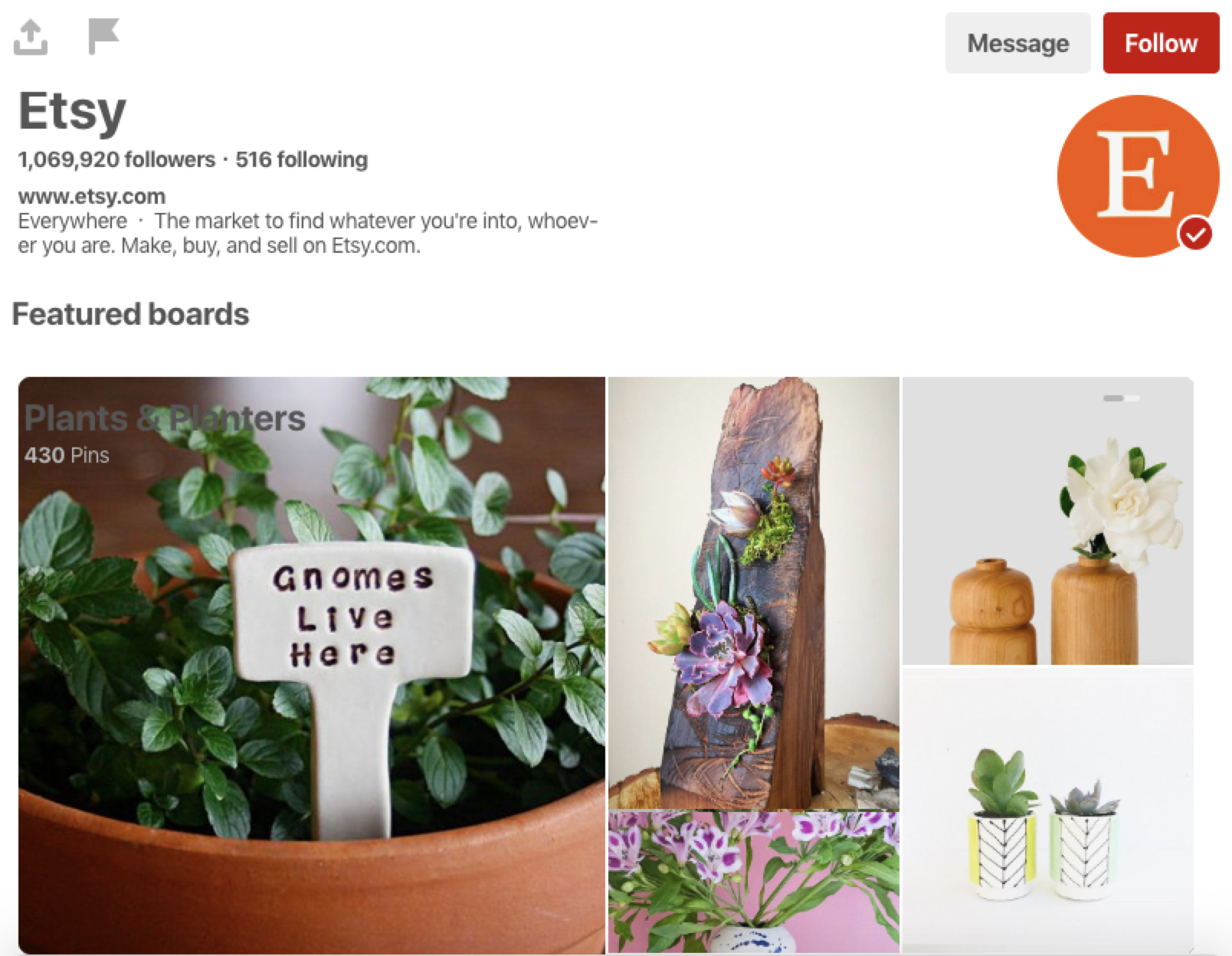 Etsy's Pinterest profile
