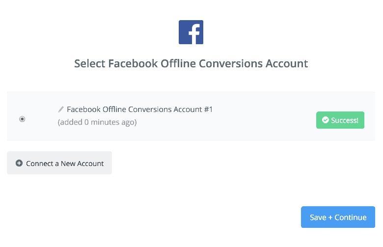 Facebook Offline Conversions  connection successfull