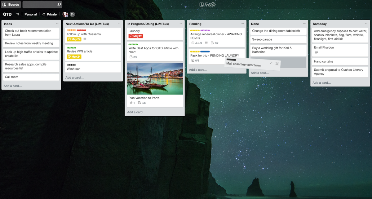 Using Trello for GTD example