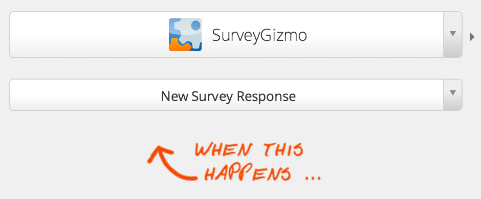Choose a SurveyGizmo trigger or action