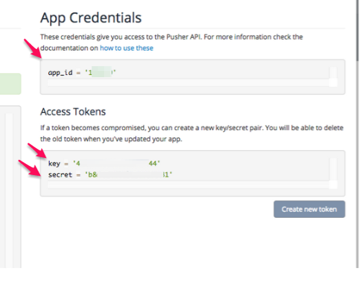 Pusher app id, API Key and secret in Pusher account