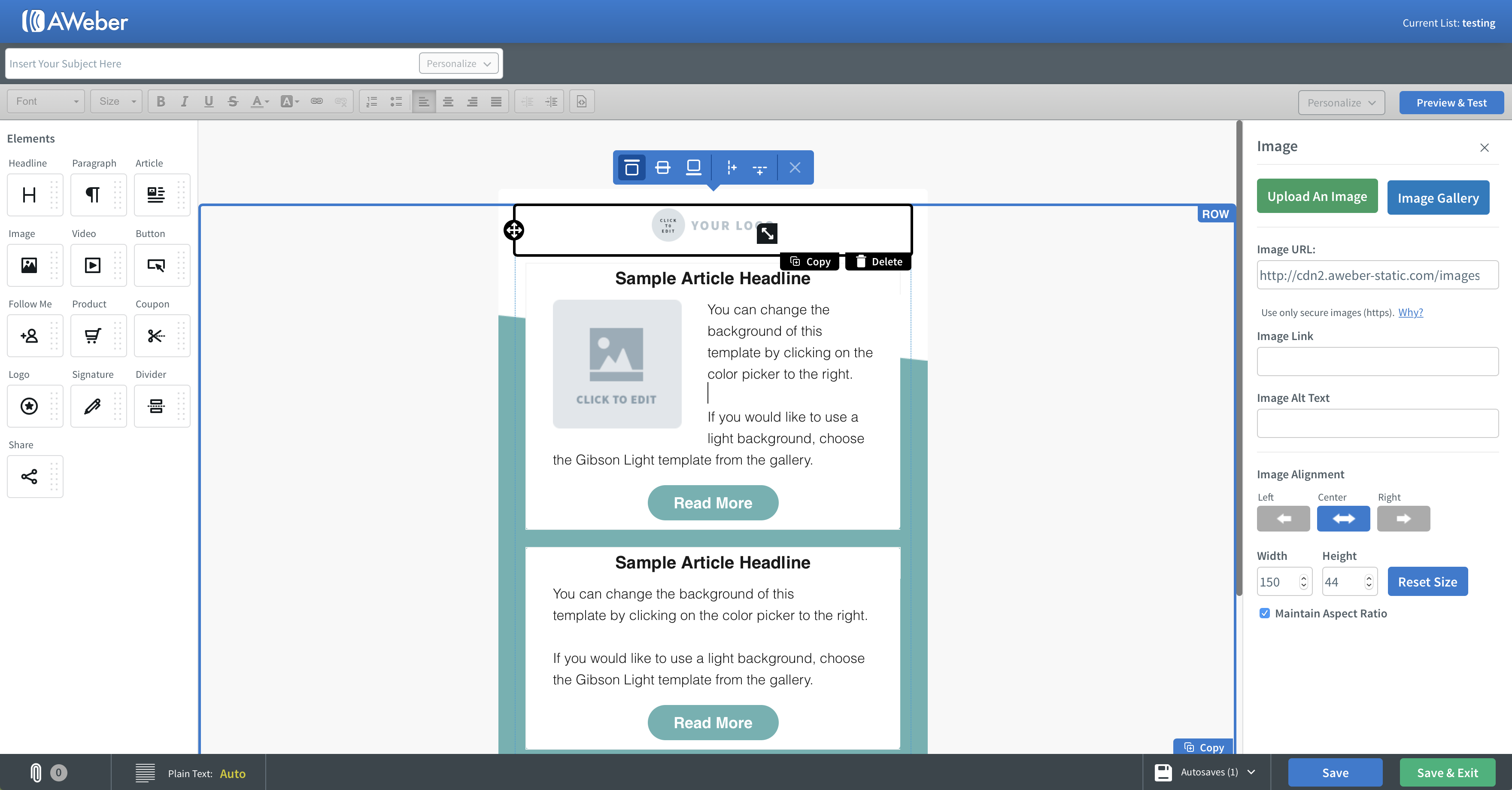 Aweber screenshot