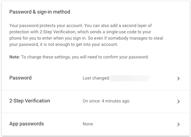 Gmail 2-factor settings