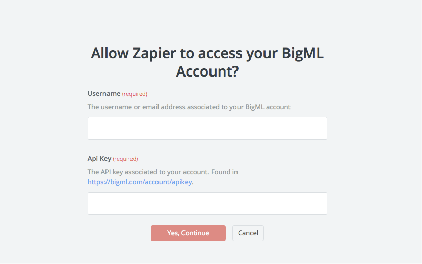 BigML API Key