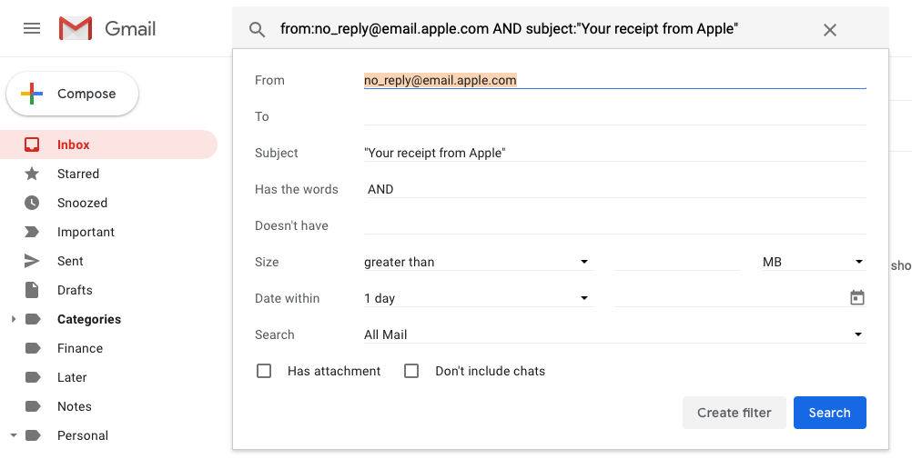 Gmail search filter