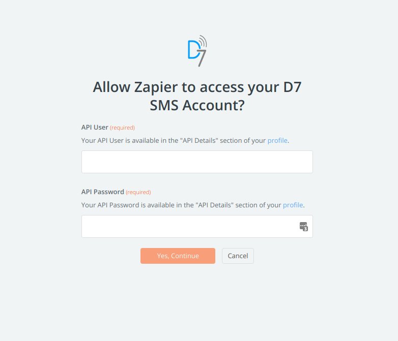 D7 SMS username and password