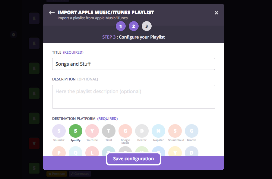 Export Streaming music with Soundiiz