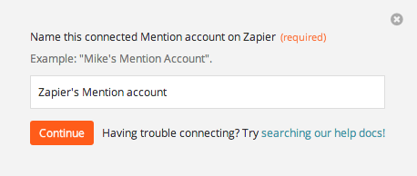 Name the Mention account inside Zapier