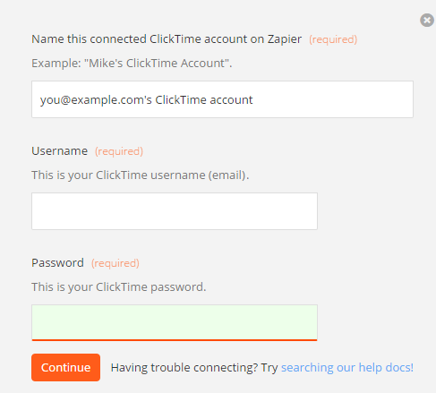 ClickTime username and password