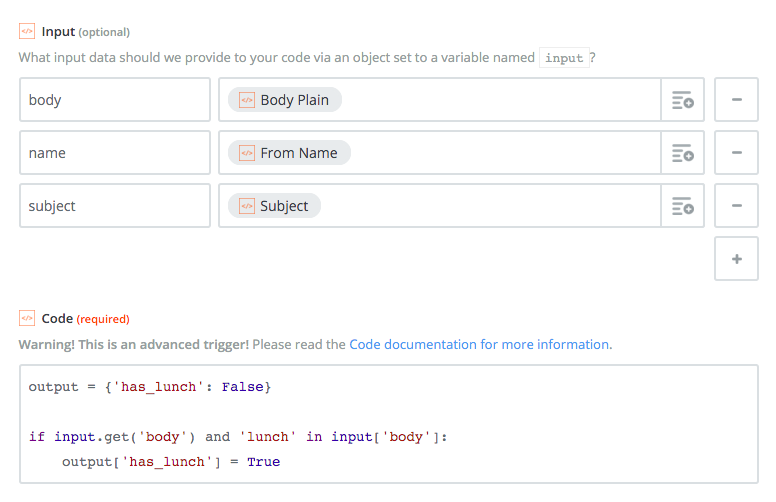 Here we're defining `body`, `name` and `subject` fields on the `input_data` object based on our trigger data.