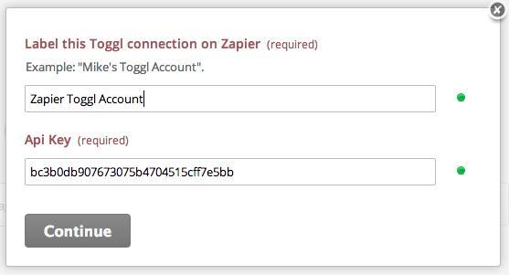 Name Toggl Account and API Key