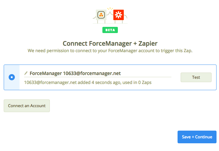 ForceManager connection successful