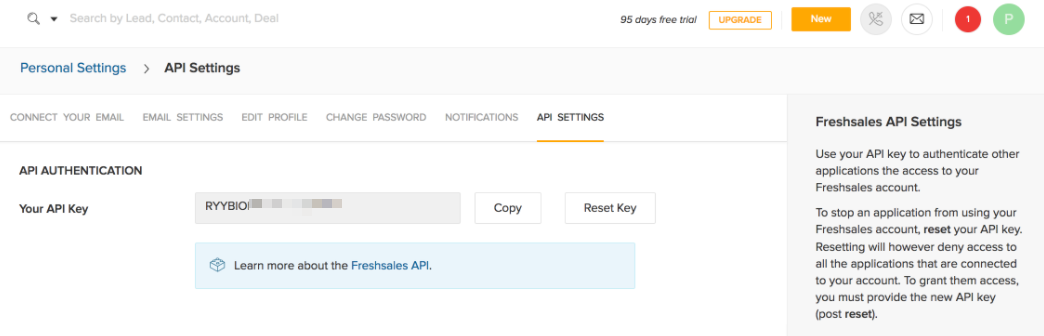 Freshsales API Key location