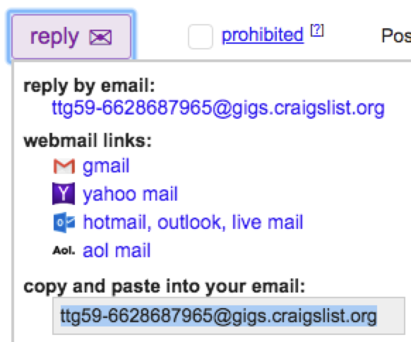 Craigslist temporary email address