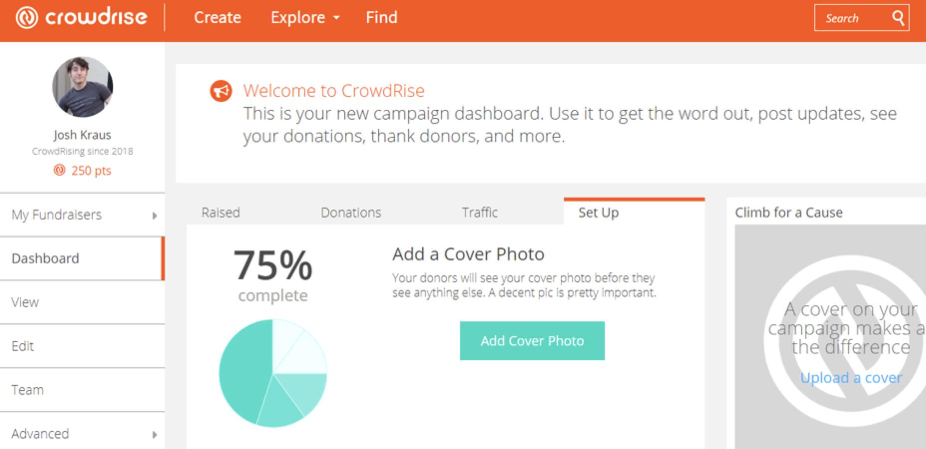 CrowdRise set-up