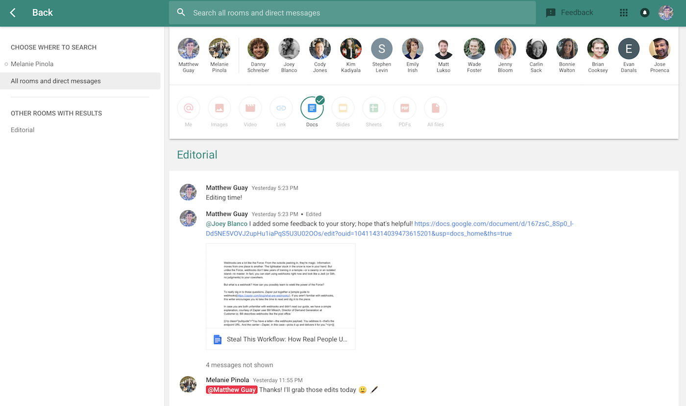 Find Google Docs documents with Hangouts search